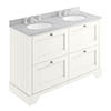 Bayswater Pointing White 1200mm 4 Drawer Vanity Unit & 3TH Grey Marble Double Bowl Basin Top profile small image view 1