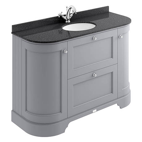 Bayswater Plummett Grey Curved 1200mm Vanity Unit & 1TH Black Marble Single Bowl Basin Top