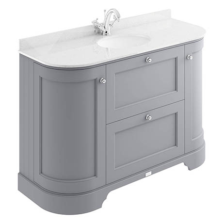 Bayswater Plummett Grey Curved 1200mm Vanity Unit & 1TH White Marble Single Bowl Basin Top