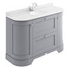 Bayswater Plummett Grey Curved 1200mm Vanity Unit & 1TH White Marble Single Bowl Basin Top profile small image view 1
