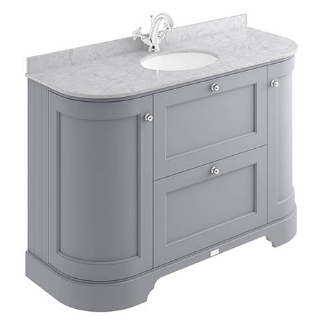 Bayswater Plummett Grey Curved 1200mm Vanity Unit & 1TH Grey Marble Single Bowl Basin Top