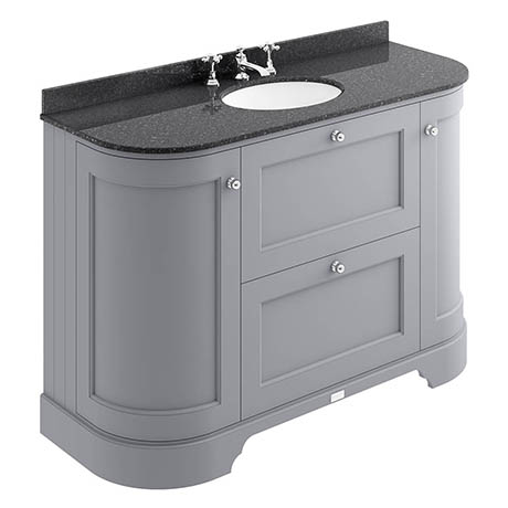 Bayswater Plummett Grey Curved 1200mm Vanity Unit & 3TH Black Marble Single Bowl Basin Top