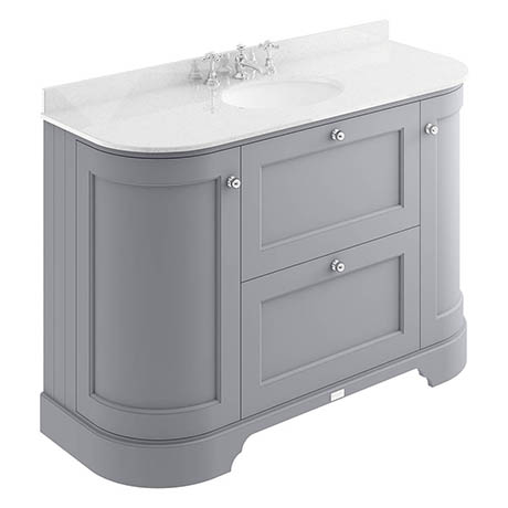 Bayswater Plummett Grey Curved 1200mm Vanity Unit & 3TH White Marble Single Bowl Basin Top