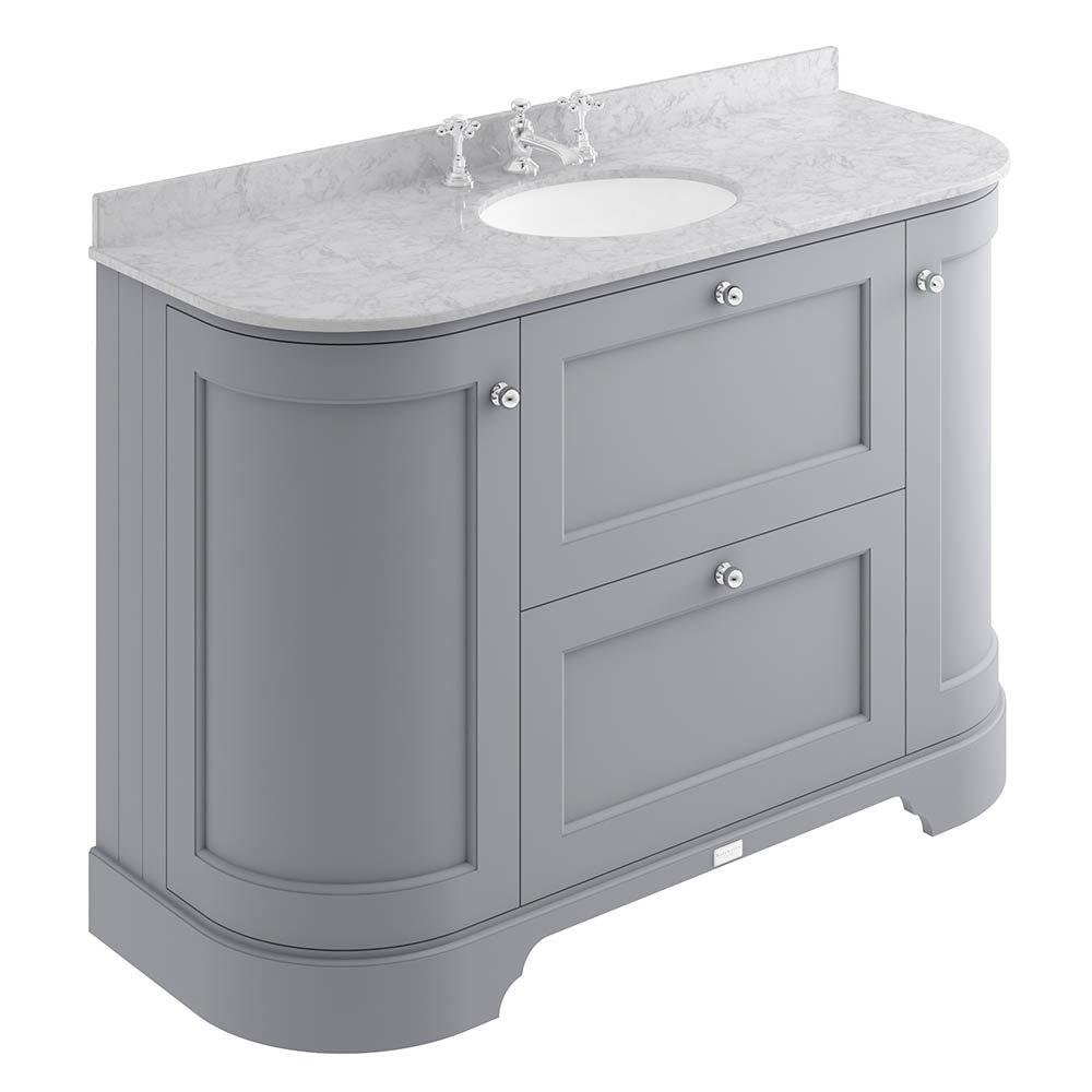 Bayswater Plummett Grey Curved 1200mm Vanity Unit & 3TH Grey Marble Single Bowl Basin Top