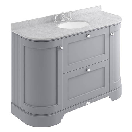 Bayswater Plummett Grey Curved 1200mm Vanity Unit & 3TH Grey Marble Single Bowl Basin Top