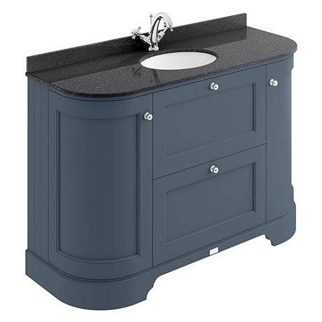 Bayswater Stiffkey Blue Curved 1200mm Vanity Unit & 1TH Black Marble Single Bowl Basin Top
