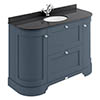 Bayswater Stiffkey Blue Curved 1200mm Vanity Unit & 1TH Black Marble Single Bowl Basin Top profile small image view 1