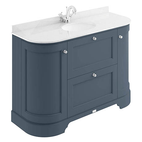 Bayswater Stiffkey Blue Curved 1200mm Vanity Unit & 1TH White Marble Single Bowl Basin Top