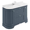 Bayswater Stiffkey Blue Curved 1200mm Vanity Unit & 1TH White Marble Single Bowl Basin Top profile small image view 1