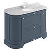 Bayswater Stiffkey Blue Curved 1200mm Vanity Unit & 1TH Grey Marble Single Bowl Basin Top profile small image view 1
