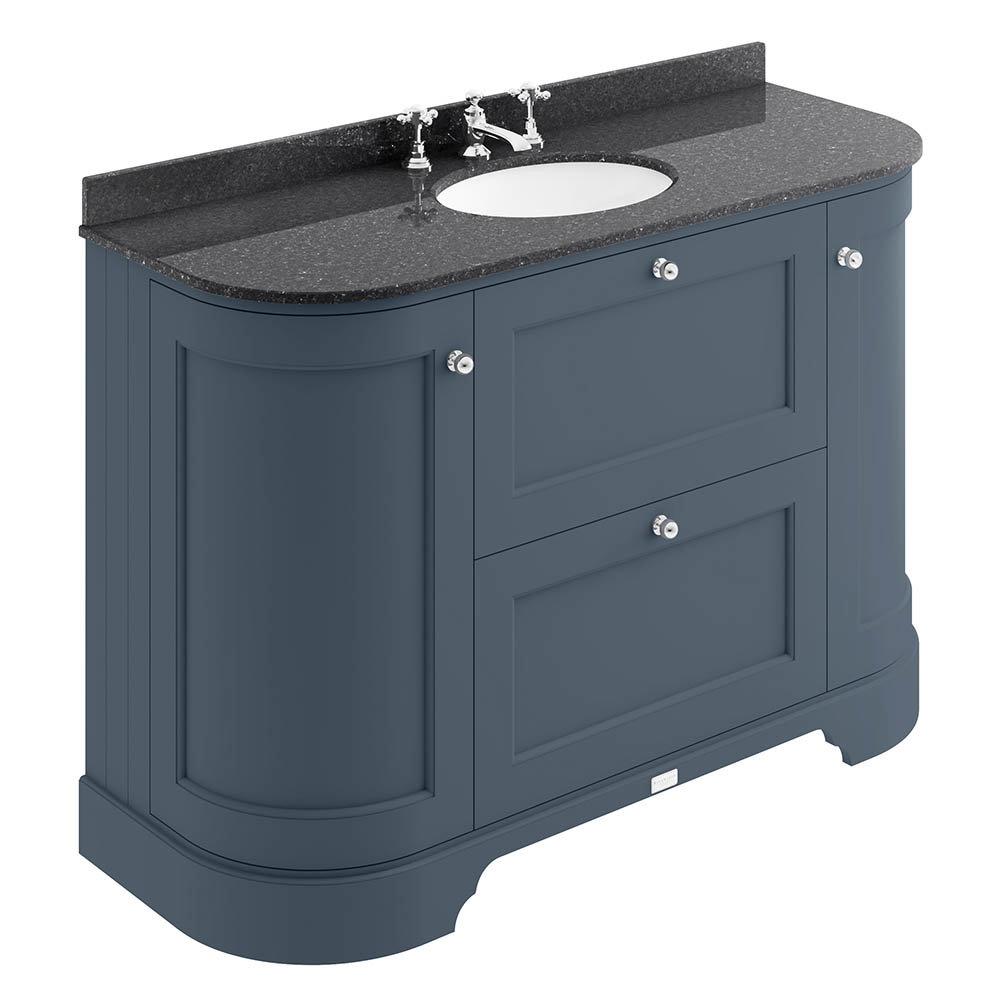 Bayswater Stiffkey Blue Curved 1200mm Vanity Unit & 3TH Black Marble Single Bowl Basin Top