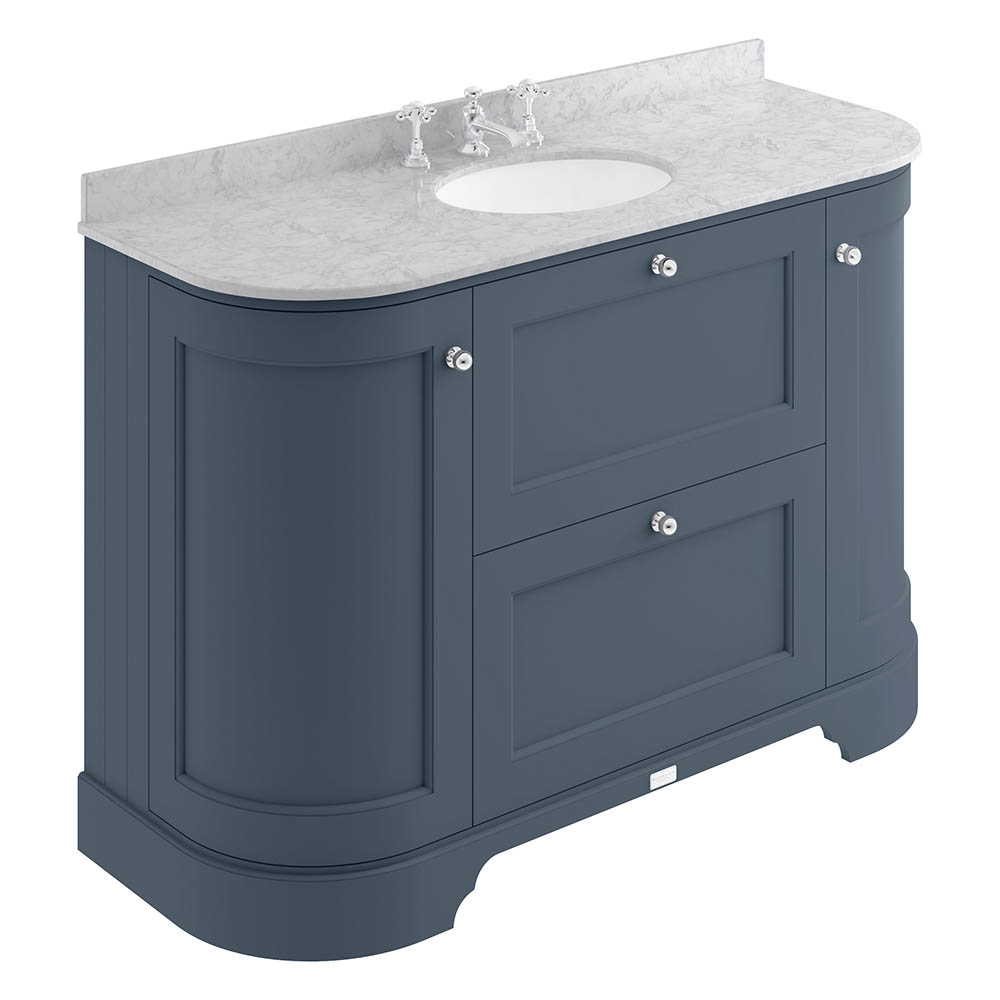 Bayswater Stiffkey Blue Curved 1200mm Vanity Unit & 3TH Grey Marble Single Bowl Basin Top