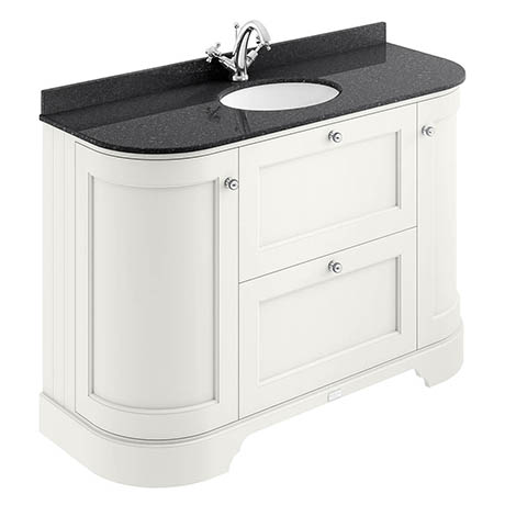Bayswater Pointing White Curved 1200mm Vanity Unit & 1TH Black Marble Single Bowl Basin Top