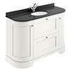 Bayswater Pointing White Curved 1200mm Vanity Unit & 1TH Black Marble Single Bowl Basin Top profile small image view 1