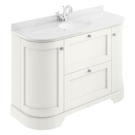 Bayswater Pointing White Curved 1200mm Vanity Unit & 1TH White Marble Single Bowl Basin Top