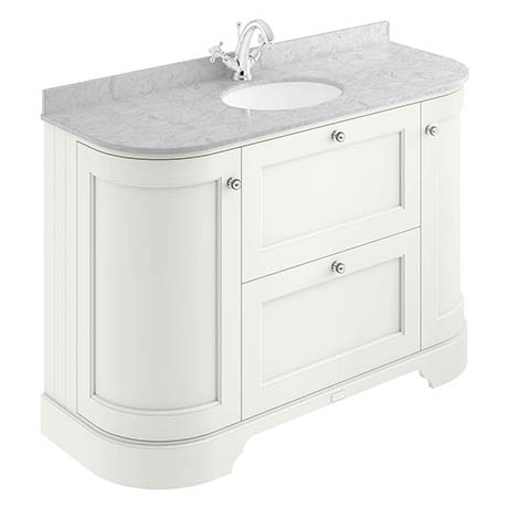 Bayswater Pointing White Curved 1200mm Vanity Unit & 1TH Grey Marble Single Bowl Basin Top