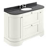 Bayswater Pointing White Curved 1200mm Vanity Unit & 3TH Black Marble Single Bowl Basin Top profile small image view 1