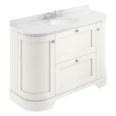 Bayswater Pointing White Curved 1200mm Vanity Unit & 3TH White Marble Single Bowl Basin Top
