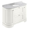 Bayswater Pointing White Curved 1200mm Vanity Unit & 3TH Grey Marble Single Bowl Basin Top profile small image view 1
