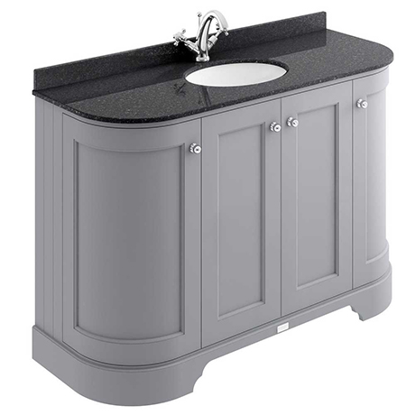 Bayswater Plummett Grey Curved 1200mm 4-Door Vanity Unit & 1TH Black Marble Single Bowl Basin Top