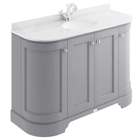 Bayswater Plummett Grey Curved 1200mm 4-Door Vanity Unit & 1TH White Marble Single Bowl Basin Top