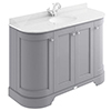 Bayswater Plummett Grey Curved 1200mm 4-Door Vanity Unit & 1TH White Marble Single Bowl Basin Top profile small image view 1