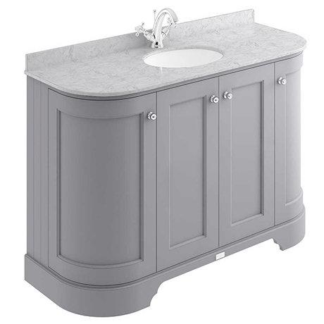 Bayswater Plummett Grey Curved 1200mm 4-Door Vanity Unit & 1TH Grey Marble Single Bowl Basin Top