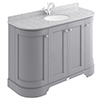 Bayswater Plummett Grey Curved 1200mm 4-Door Vanity Unit & 1TH Grey Marble Single Bowl Basin Top profile small image view 1