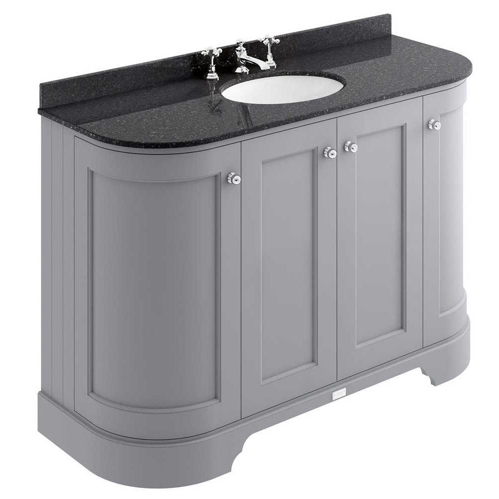 Bayswater Plummett Grey Curved 1200mm 4-Door Vanity Unit & 3TH Black Marble Single Bowl Basin Top