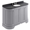 Bayswater Plummett Grey Curved 1200mm 4-Door Vanity Unit & 3TH Black Marble Single Bowl Basin Top profile small image view 1