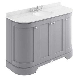 Bayswater Plummett Grey Curved 1200mm 4-Door Vanity Unit & 3TH White Marble Single Bowl Basin Top
