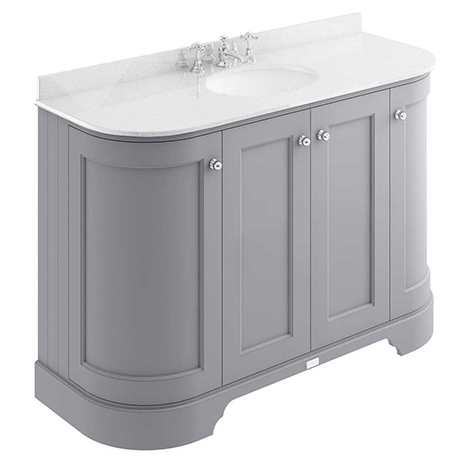 Bayswater Plummett Grey Curved 1200mm 4-Door Vanity Unit & 3TH White Marble Single Bowl Basin Top