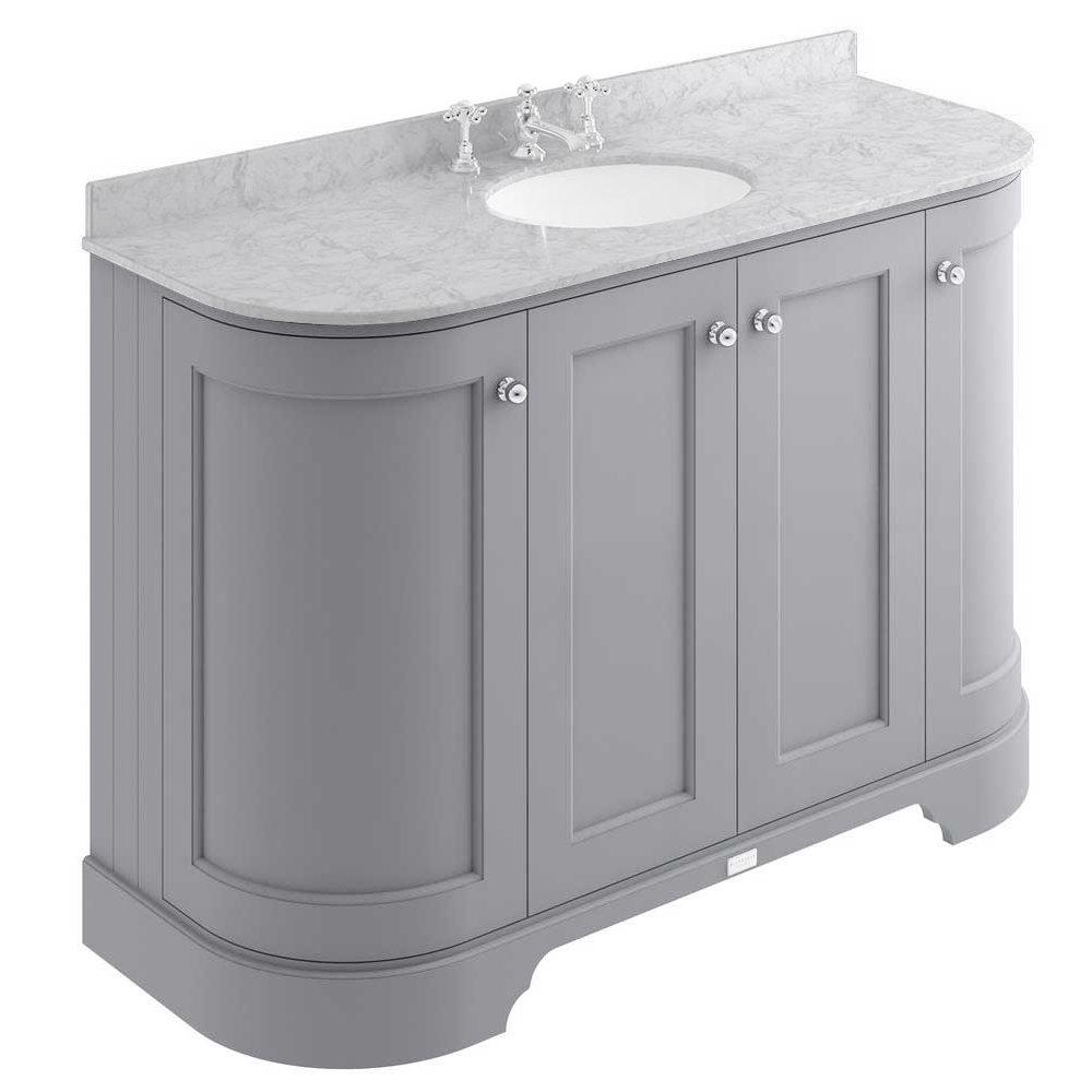 Bayswater Plummett Grey Curved 1200mm 4-Door Vanity Unit & 3TH Grey Marble Single Bowl Basin Top