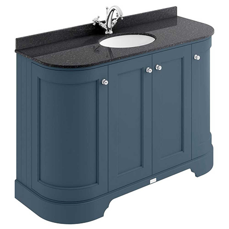 Bayswater Stiffkey Blue Curved 1200mm 4-Door Vanity Unit & 1TH Black Marble Single Bowl Basin Top