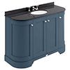 Bayswater Stiffkey Blue Curved 1200mm 4-Door Vanity Unit & 3TH Black Marble Single Bowl Basin Top profile small image view 1