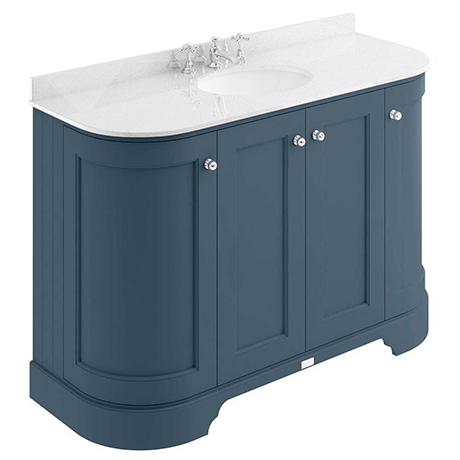 Bayswater Stiffkey Blue Curved 1200mm 4-Door Vanity Unit & 3TH White Marble Single Bowl Basin Top