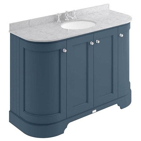 Bayswater Stiffkey Blue Curved 1200mm 4-Door Vanity Unit & 3TH Grey Marble Single Bowl Basin Top