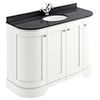 Bayswater Pointing White Curved 1200mm 4-Door Vanity Unit & 1TH Black Marble Single Bowl Basin Top profile small image view 1