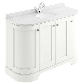 Bayswater Pointing White Curved 1200mm 4-Door Vanity Unit & 1TH White Marble Single Bowl Basin Top