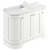 Bayswater Pointing White Curved 1200mm 4-Door Vanity Unit & 1TH White Marble Single Bowl Basin Top profile small image view 1