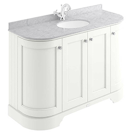 Bayswater Pointing White Curved 1200mm 4-Door Vanity Unit & 1TH Grey Marble Single Bowl Basin Top