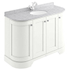 Bayswater Pointing White Curved 1200mm 4-Door Vanity Unit & 1TH Grey Marble Single Bowl Basin Top profile small image view 1