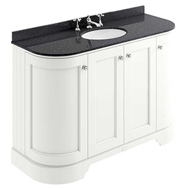 Bayswater Pointing White Curved 1200mm 4-Door Vanity Unit & 3TH Black Marble Single Bowl Basin Top
