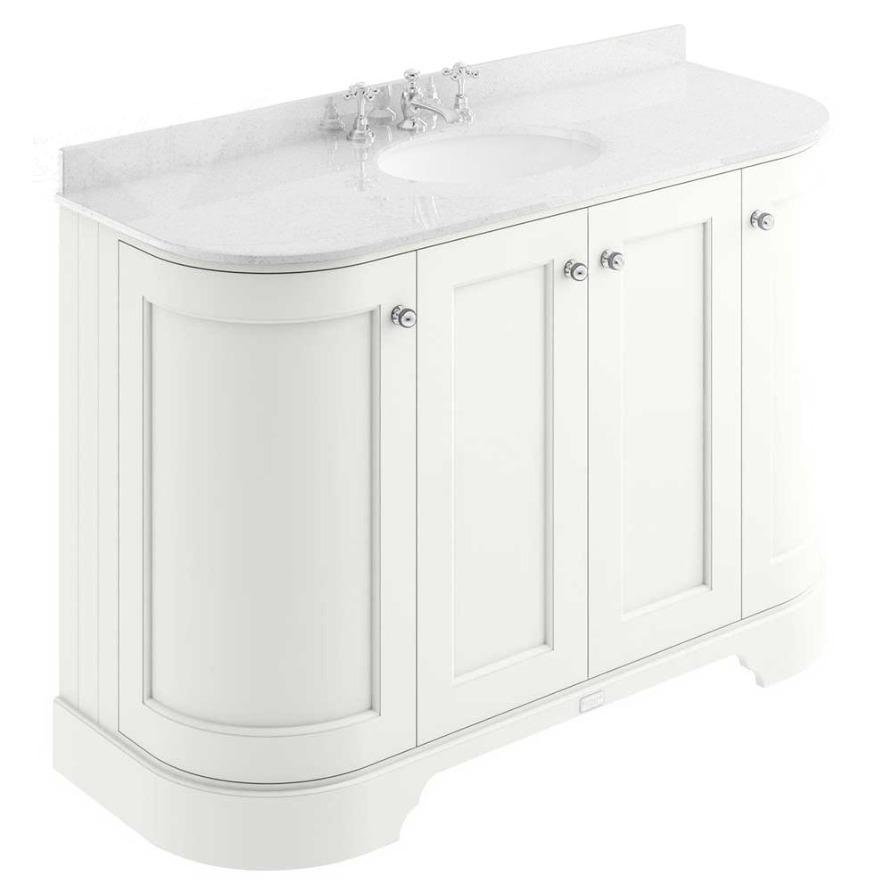 Bayswater Pointing White Curved 1200mm 4-Door Vanity Unit & 3TH White Marble Single Bowl Basin Top