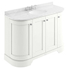 Bayswater Pointing White Curved 1200mm 4-Door Vanity Unit & 3TH White Marble Single Bowl Basin Top profile small image view 1