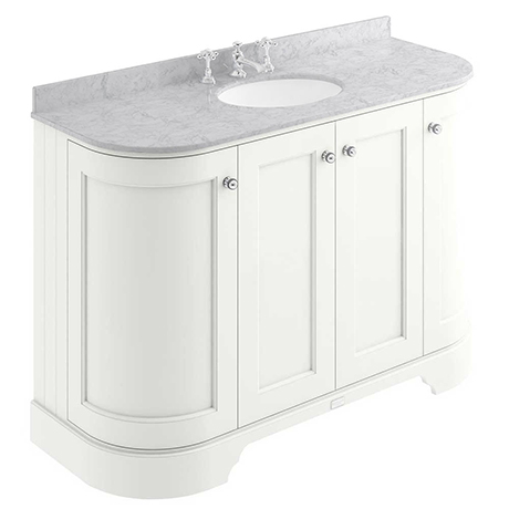 Bayswater Pointing White Curved 1200mm 4-Door Vanity Unit & 3TH Grey Marble Single Bowl Basin Top
