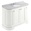 Bayswater Pointing White Curved 1200mm 4-Door Vanity Unit & 3TH Grey Marble Single Bowl Basin Top profile small image view 1
