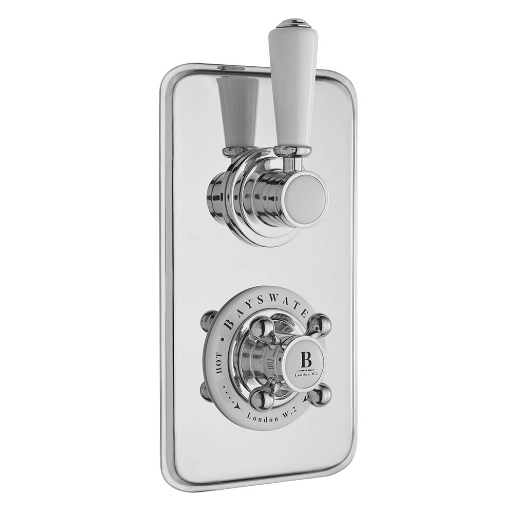 Bayswater White Twin Concealed Thermostatic Shower Valve with Diverter