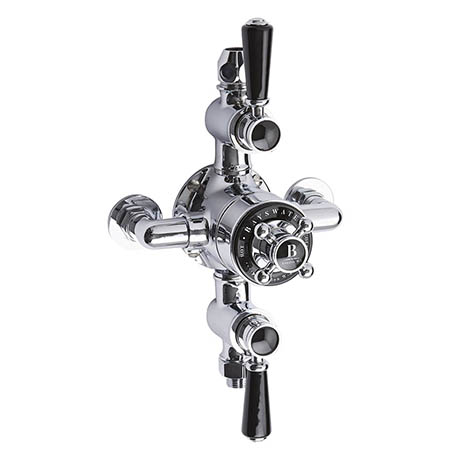 Bayswater Black Triple Exposed Thermostatic Shower Valve