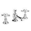 Bayswater White Crosshead 3 Tap Hole Deck Basin Mixer + Pop-Up Waste Medium Image